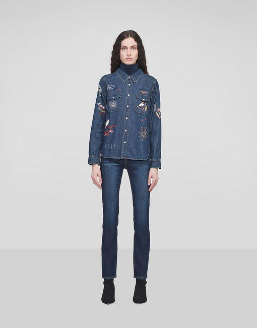 Embroidered Denim Shirt_Medium Indigo