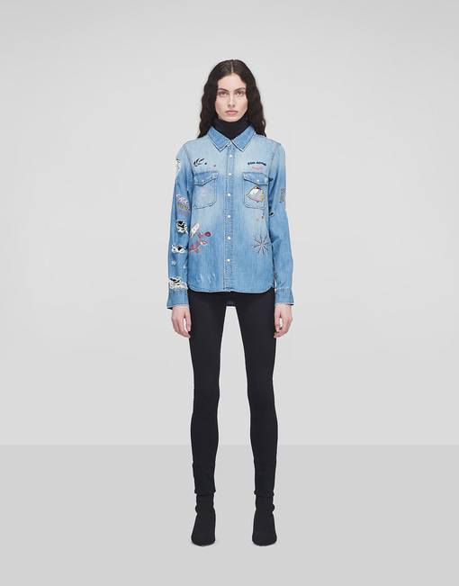 Embroidered Denim Shirt_Light Indigo