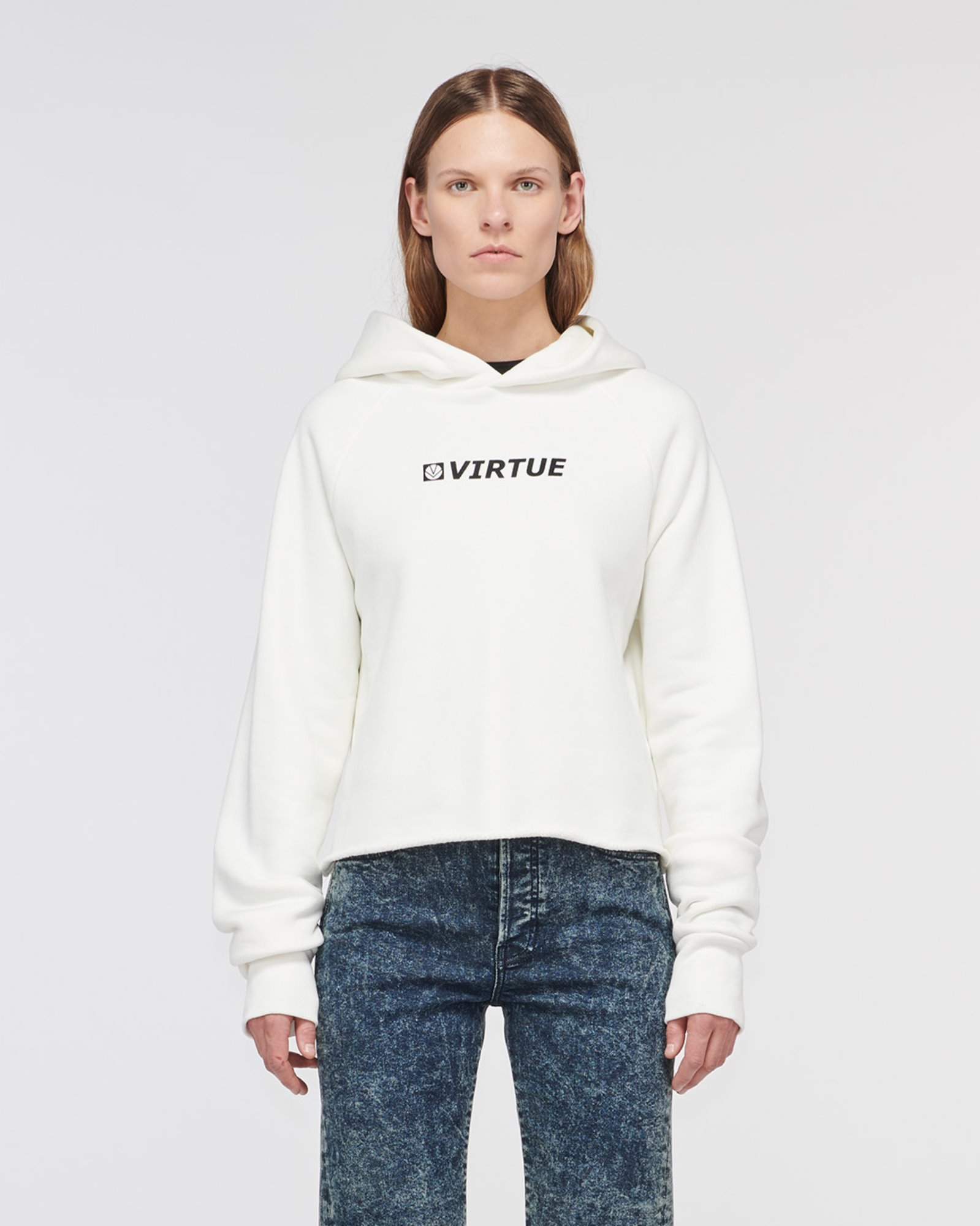 """ECHO PARK"" CROPPED HOODIE OFF WHITE"